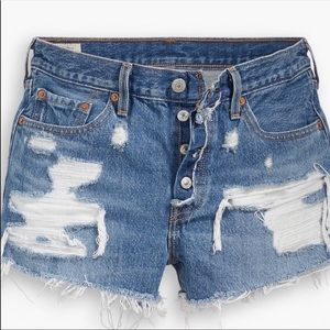 Levi's 501 Distressed Mid Rise Denim Shorts